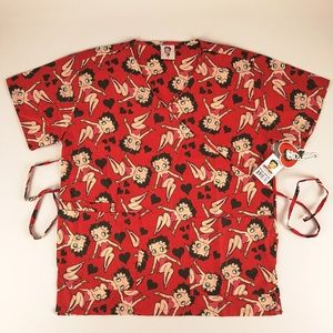 Betty Boop Scrub Top Women's Small Red Mock Wrap